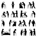 Cura della gente di inabilità ed icone disabili di sanità Immagini Stock