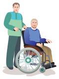 Cura delle persone più anziane dei invalids Fotografia Stock
