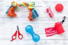 Cura di animale domestico e strumenti rossi governare con i giocattoli sulla vista superiore del fondo di legno bianco Immagine Stock