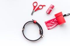 Cura di animale domestico e strumenti rossi governare sullo spazio bianco di vista superiore del fondo per testo Fotografia Stock