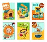 Cura di animale domestico 6 Mini Banners Set Fotografia Stock Libera da Diritti