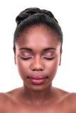 Cura di pelle africana della donna Immagini Stock Libere da Diritti