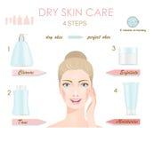 Cura di pelle asciutta infographic Fotografia Stock