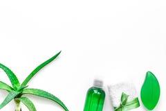 Cura di pelle casalinga L'aloe vera copre di foglie, vetro del succo di vera dell'aloe e sapone sul copyspace bianco di vista sup Immagine Stock
