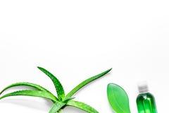 Cura di pelle casalinga L'aloe vera copre di foglie, vetro del succo di vera dell'aloe e sapone sul copyspace bianco di vista sup Immagine Stock Libera da Diritti