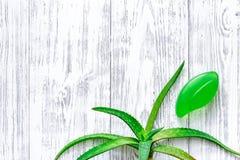 Cura di pelle di erbe naturale L'aloe vera copre di foglie e sapone sul copyspace di legno di vista superiore del fondo della tav Immagine Stock