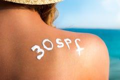 Cura di pelle e protezione del sole Fotografia Stock