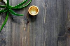 Cura di pelle Il gel di vera dell'aloe e l'aloe vera copre di foglie sul copyspace di legno di vista superiore del fondo Fotografie Stock