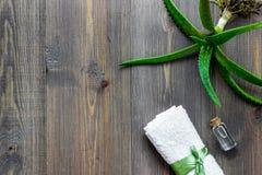 Cura di pelle Il gel di vera dell'aloe e l'aloe vera copre di foglie sul copyspace di legno di vista superiore del fondo Immagini Stock Libere da Diritti