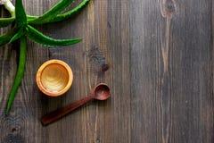 Cura di pelle Il gel di vera dell'aloe e l'aloe vera copre di foglie sul copyspace di legno di vista superiore del fondo Fotografia Stock