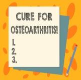 Cura do texto da escrita para a osteodistrofia Tratamento do significado do conceito para a dor e a rigidez da pilha das junções  ilustração stock