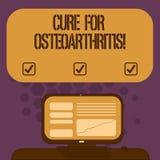 Cura do texto da escrita para a osteodistrofia Tratamento do significado do conceito para a dor e a rigidez do tela de computador ilustração royalty free