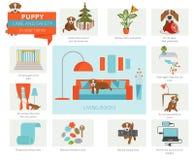 Cura e sicurezza del cucciolo nella vostra casa Sofà e pranzo-vagone angolari nell'interiore Trainin del cane di animale domestic illustrazione vettoriale