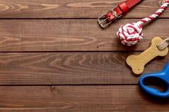 Cura ed addestramento di animale domestico di concetto sulla vista superiore del fondo di legno Fotografia Stock Libera da Diritti
