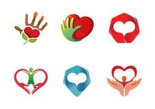 Cura Logo Design Illustration del cuore Immagine Stock Libera da Diritti