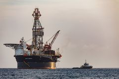 The oil rig `Sevan Louisiana` off the Curacao coast in the Caribbean. Mobile Offshore Drilling Unit MODU based on Sevan SSP`s H royalty free stock photo