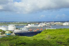 Curacao, Caribbean,Port. The island of Curacao attracts hundreds of thousands of passengers of cruise ships. 2 berth mooring cruise liners Royalty Free Stock Images