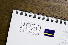 Curacao Flag on 2020 Calendar.  stock photos