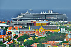 Curacao Port. Cruise Ship and colorful houses in Willemstad, Curacao stock photos