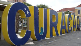 Curacao sign in Willemstad. In the Caribbean Royalty Free Stock Image