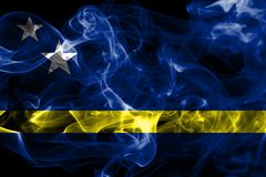 Curacao smoke flag, Netherlands dependent territory flag.  Stock Photos