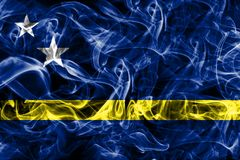 Curacao smoke flag, Netherlands dependent territory flag.  Royalty Free Stock Photos