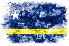 Curacao smoke flag, Netherlands dependent territory flag. On a white background Stock Images