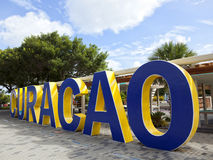 CURACAO written in concrete type at Willemstad Royalty Free Stock Photography