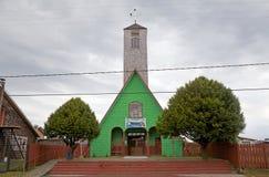 Curaco的de Velez, Quinchao海岛,智利教会 免版税库存照片