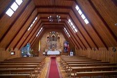 Curaco的de Velez, Quinchao海岛,智利教会 库存照片