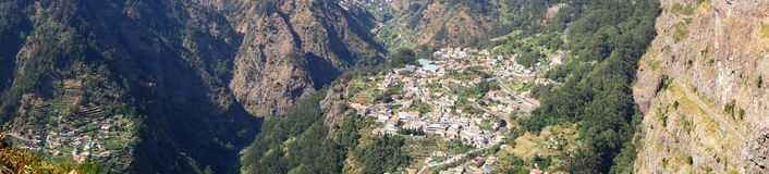 Cural das freiras. Panoramic view of Cural das freiras valley in Madeira Royalty Free Stock Images