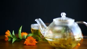 Curative fresh hot tea with calendula flowers in a cup stock video