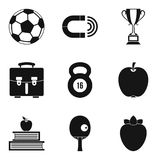 Curative place icons set, simple style. Curative place icons set. Simple set of 9 curative place vector icons for web isolated on white background Royalty Free Stock Photography