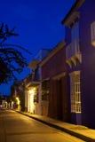 Curato de Santo Toribio Street. In Cartagena de Indias at Night Stock Photography