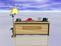 Curator desk. vector illustration