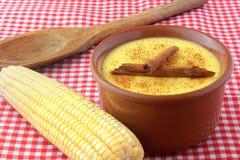 Curau, Creme des Zuckermais und des Nachtischs typisch von der brasilianischen Küche, wenn der Zimt in eine keramische Schüssel g lizenzfreie stockfotografie