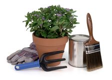 Curb appeal. Potted plant, gardening tool, gloves, paint brush & paint can Stock Images