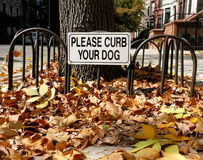 Curb Your Dog Sign Stock Photography