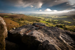 Curbar Edge. View from Curbar Edge on a stormy evening in early autumn royalty free stock photo