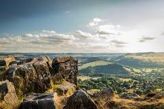 Curbar Edge Peak District. On a sunny day royalty free stock photos
