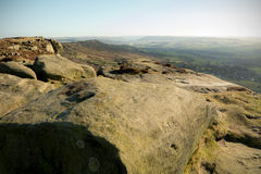 Curbar Edge, Peak District, Derbyshire. Gritstone edge located in the Peak District national park in Derbyshire Stock Images