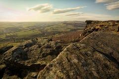 Curbar kant, maximalt område, Derbyshire Royaltyfri Fotografi