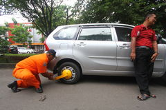 Curbing Illegal Parking at Pedestrian Stock Images