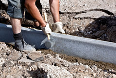 Curbs installation Royalty Free Stock Image