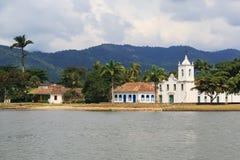 Curch in Paraty, state Rio de Janeiro, Brazil. Curch Igreja de Nossa Senhora das Dores in Paraty in rainy day with clouds, state Rio de Janeiro, Brazil stock photo