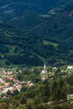 Church. View from the top of the hills, over Salciua village Stock Photography