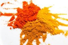 Curcuma, curry e polvere fredda Fotografia Stock