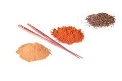 Curcuma, pepper, chili pepper spices. Royalty Free Stock Image