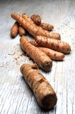 Curcuma root spice ingredient for culinary elaboration Royalty Free Stock Photos