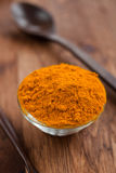 Curcuma spice. In a glass bowl on a wooden table Royalty Free Stock Photo
